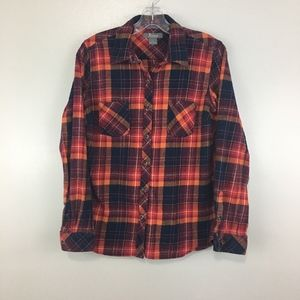 Natural Reflections Orange Flannel Button Down Top